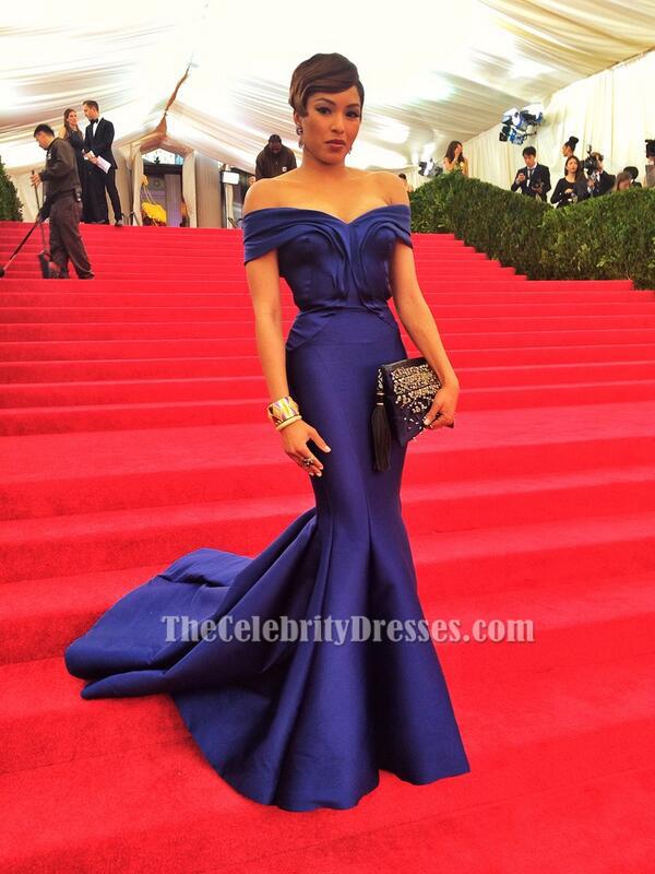 Alicia Quarles Blue Mermaid Off The Shoulder Formal Dress 2017 Met Gala Red Carpet Thecelebritydresses