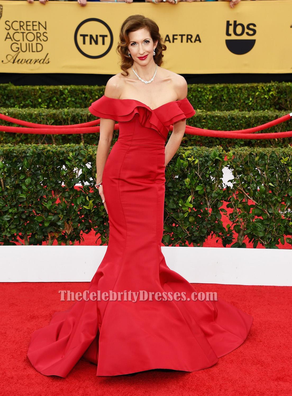 Alysia Reiner Red Off The Shoulder Formal Dress 21st Sag Awards Carpet Thecelebritydresses