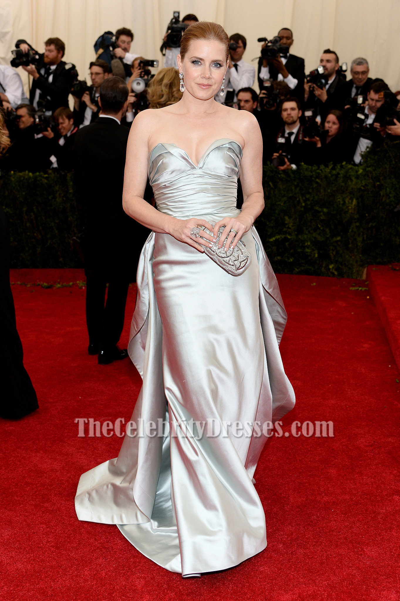 Amy adams silver strapless formal evening dress 2014 met gala red carpet thecelebritydresses - Silver red carpet dresses ...