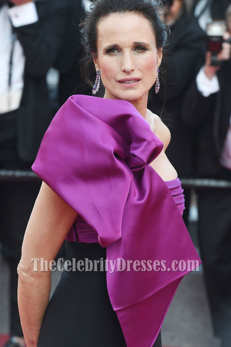 Andie MacDowell Black And Purple One-shoulder Slit Prom ...