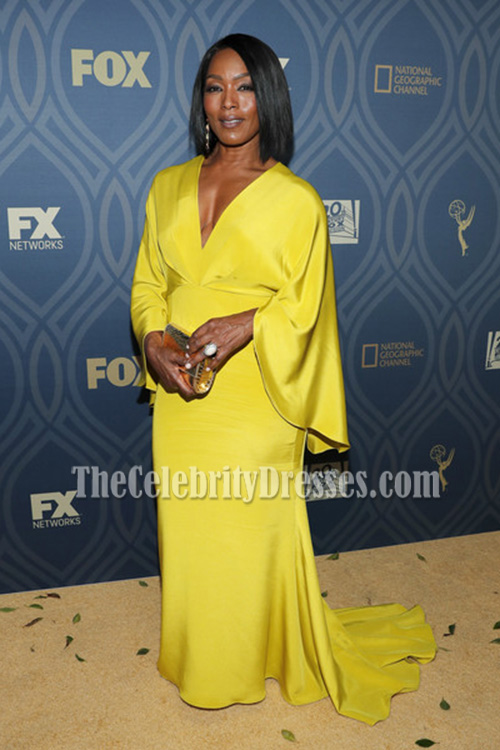 e526fdf53cd Angela Bassett Yellow Sleeves Deep V-neck Evening Prom Gown Fox  Broadcasting s Emmy After-party - TheCelebrityDresses