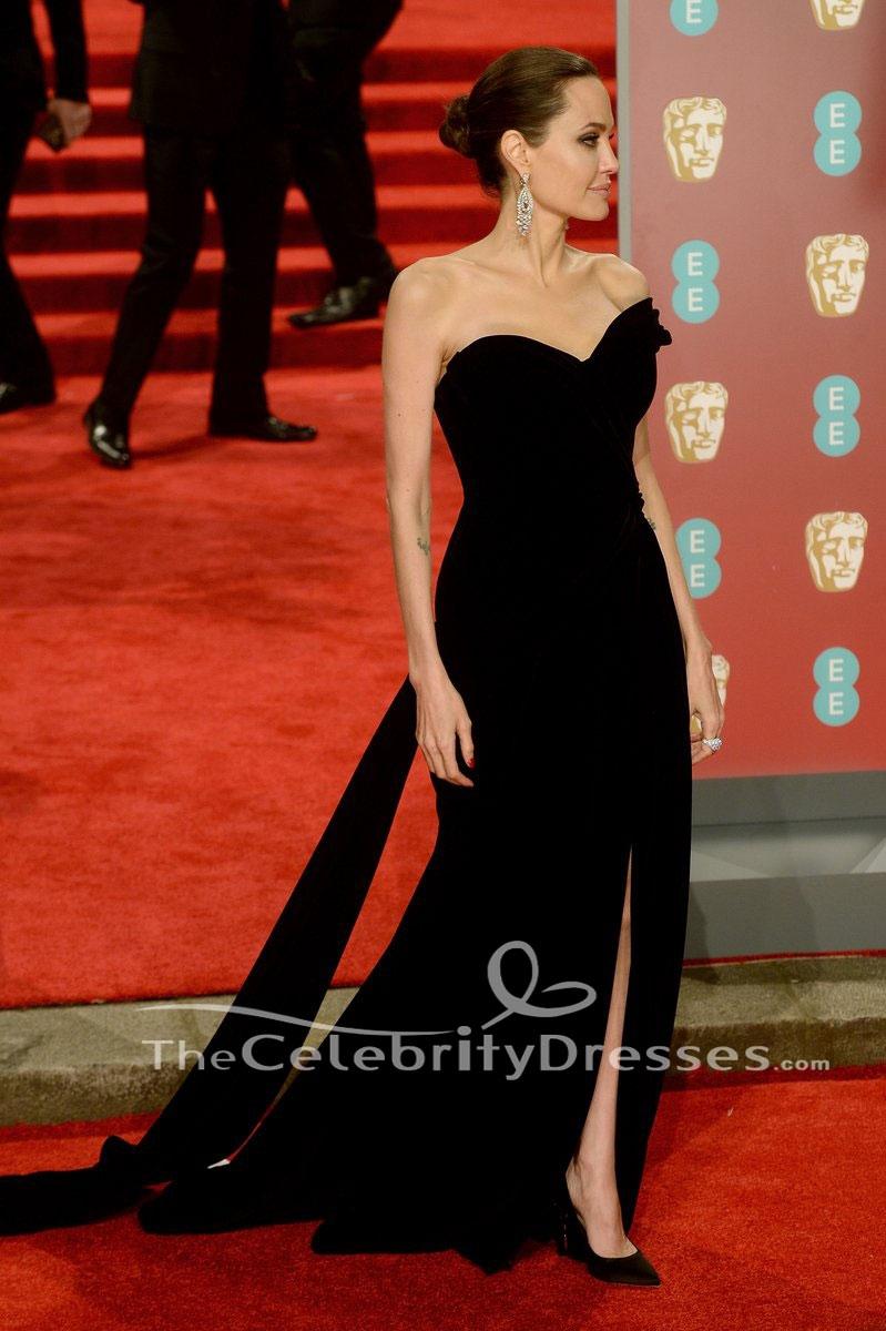 Angelina Jolie 2018 Baftas Black Evening Dress Red Carpet