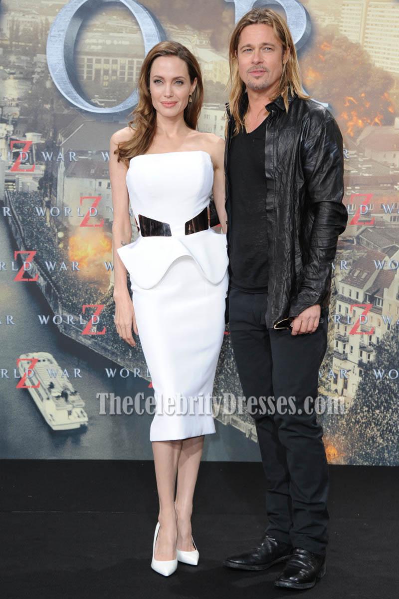 Angelina Jolie White Strapless Bandage Cocktail Party Dress Clothing Georgia Mini Thecelebritydresses