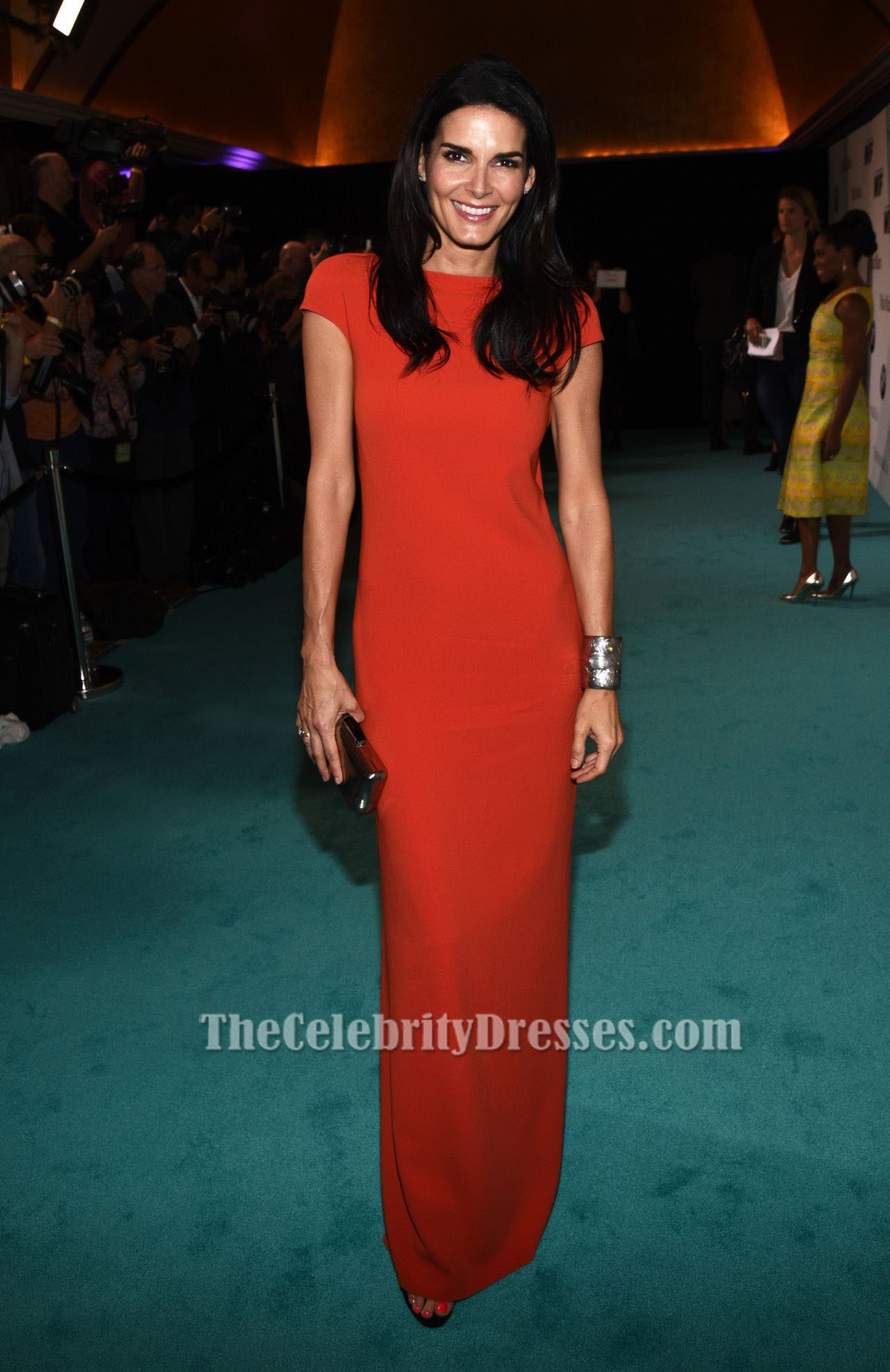 Angie Harmon Red Short Sleeves Evening Dress In Film 2015