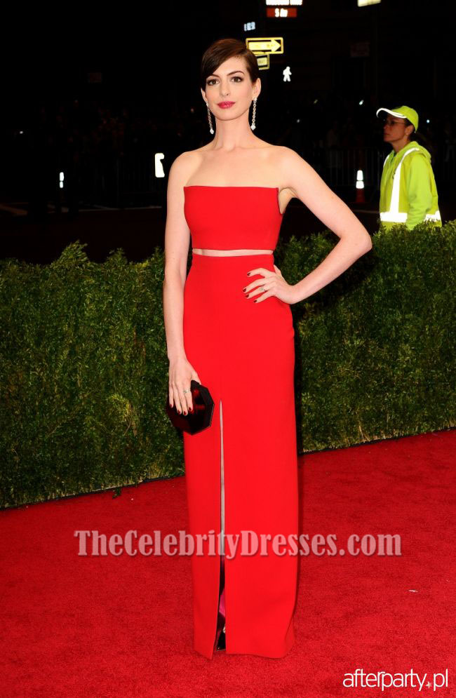 Anna Hathaway Red Prom Evening Dress Met Gala 2014 Red