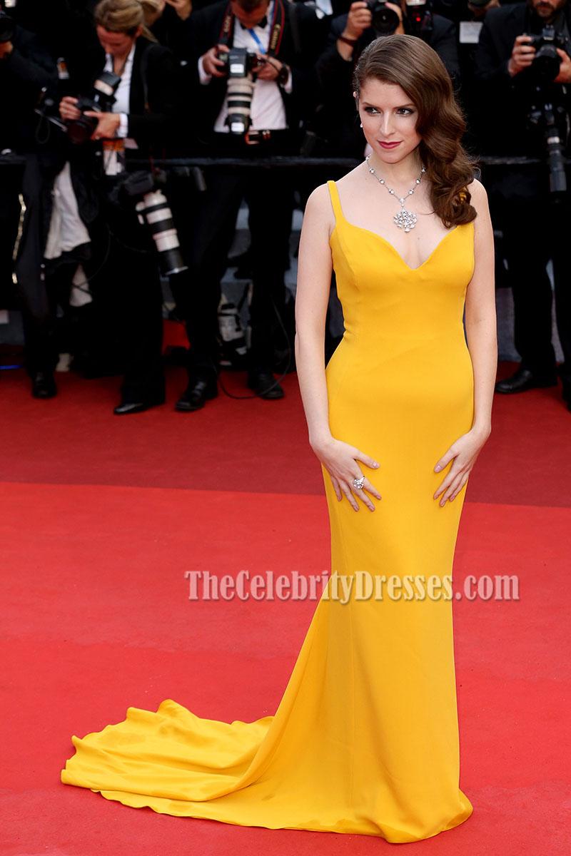 Anna Kendrick Yellow Evening Prom Dress 2016 Cannes Film
