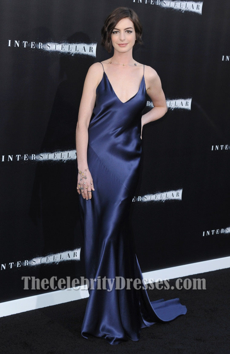 Anne Hathaway Dark Navy Evening Dress Interstellar La