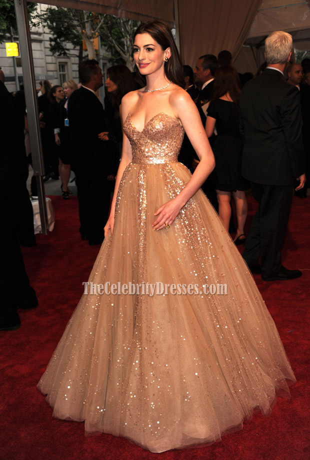 Anne Hathaway Strapless Gold Sequined Prom Dress Met Ball 2010 Red ...