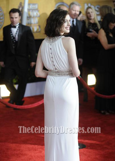03784ad6bd1 Anne Hathaway White Prom Dress 2009 SAG Awards Red Carpet Dresses -  TheCelebrityDresses