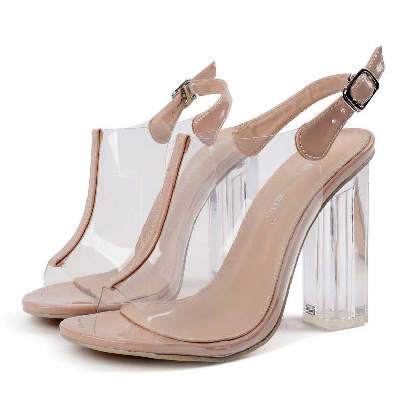 647ed0edec4 Nude Transparent Open Toe Ankle Strap Sandals High Heels Shoes For Women