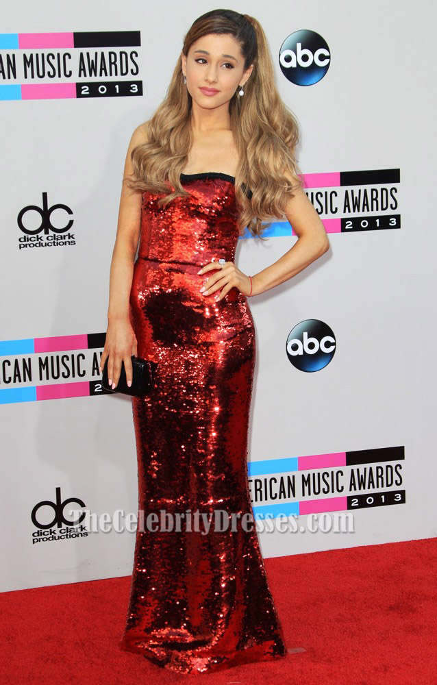 Ariana Grande Red Sequined Evening Dress 2013 American Music Awards Thecelebritydresses