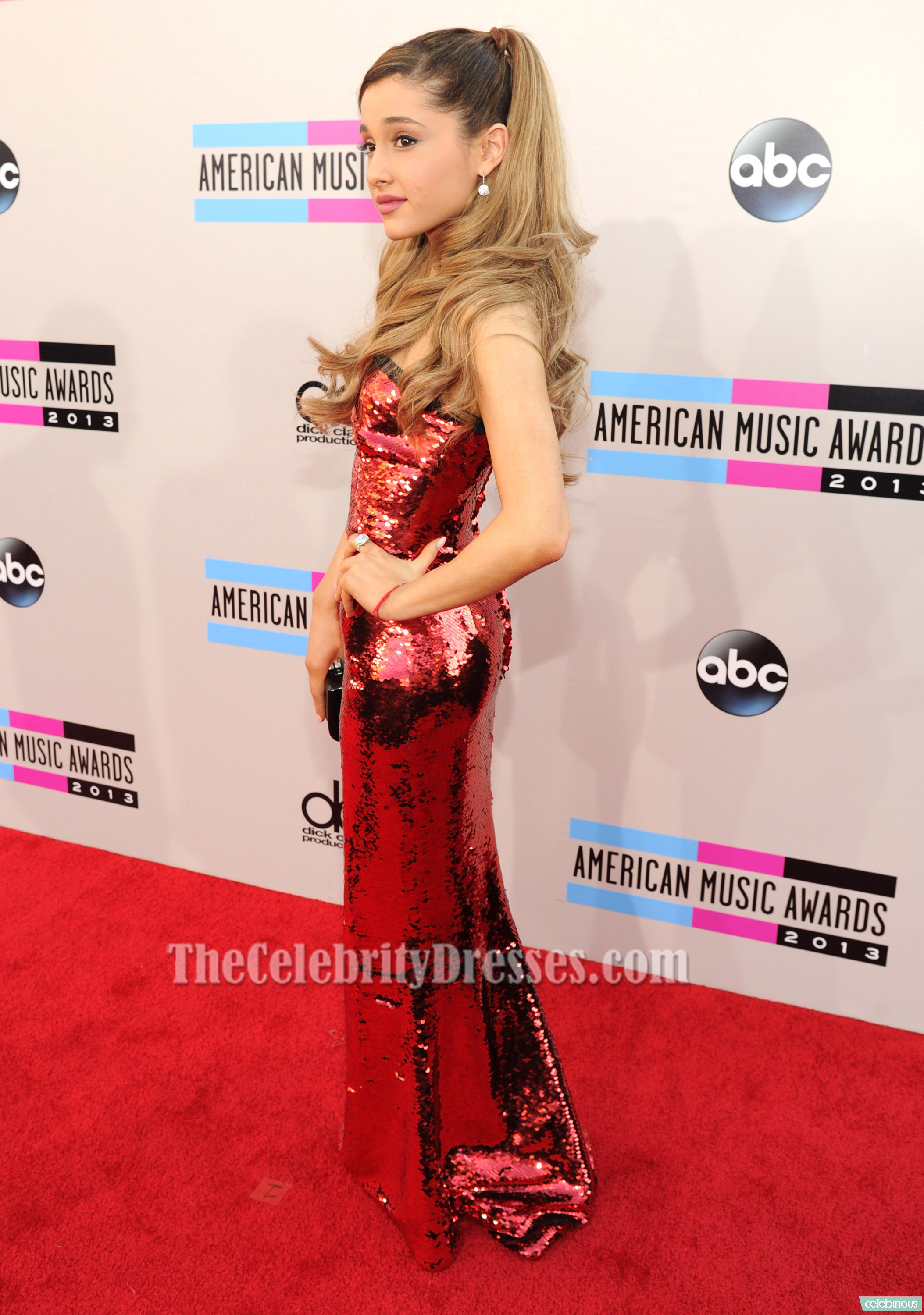 ariana grande red sequined evening dress 2013 american