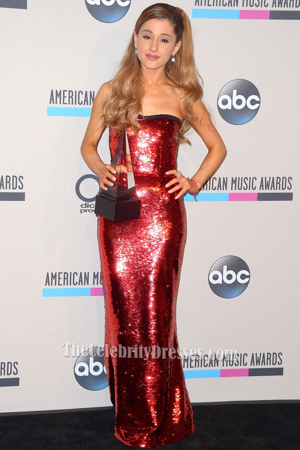 Ariana Grande Red Sequined Evening Dress 2013 American Music Awards Tcd6022