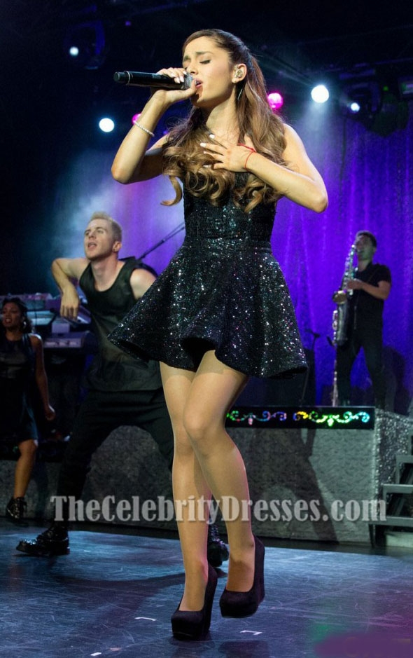 Ariana Grande Short Black Sequins Party Dress Listening Sessions