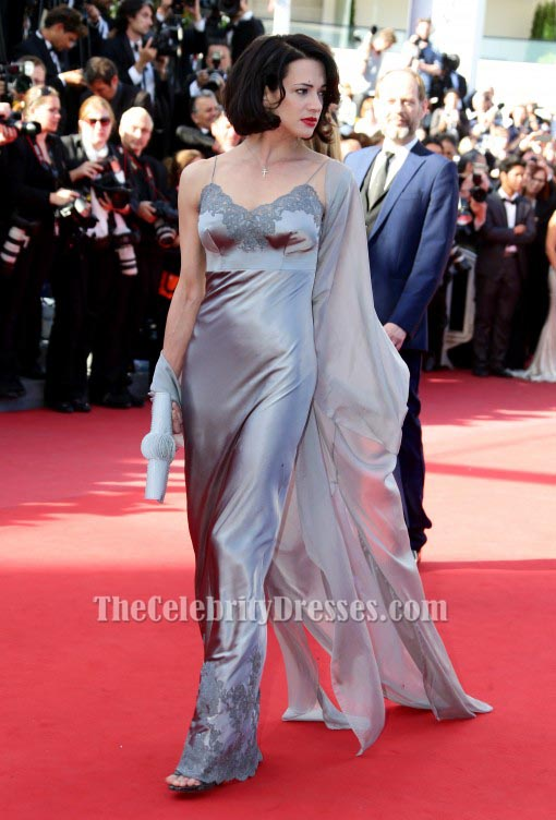 Asia argento silver evening dress 2013 cannes film festival red carpet gown thecelebritydresses - Silver red carpet dresses ...