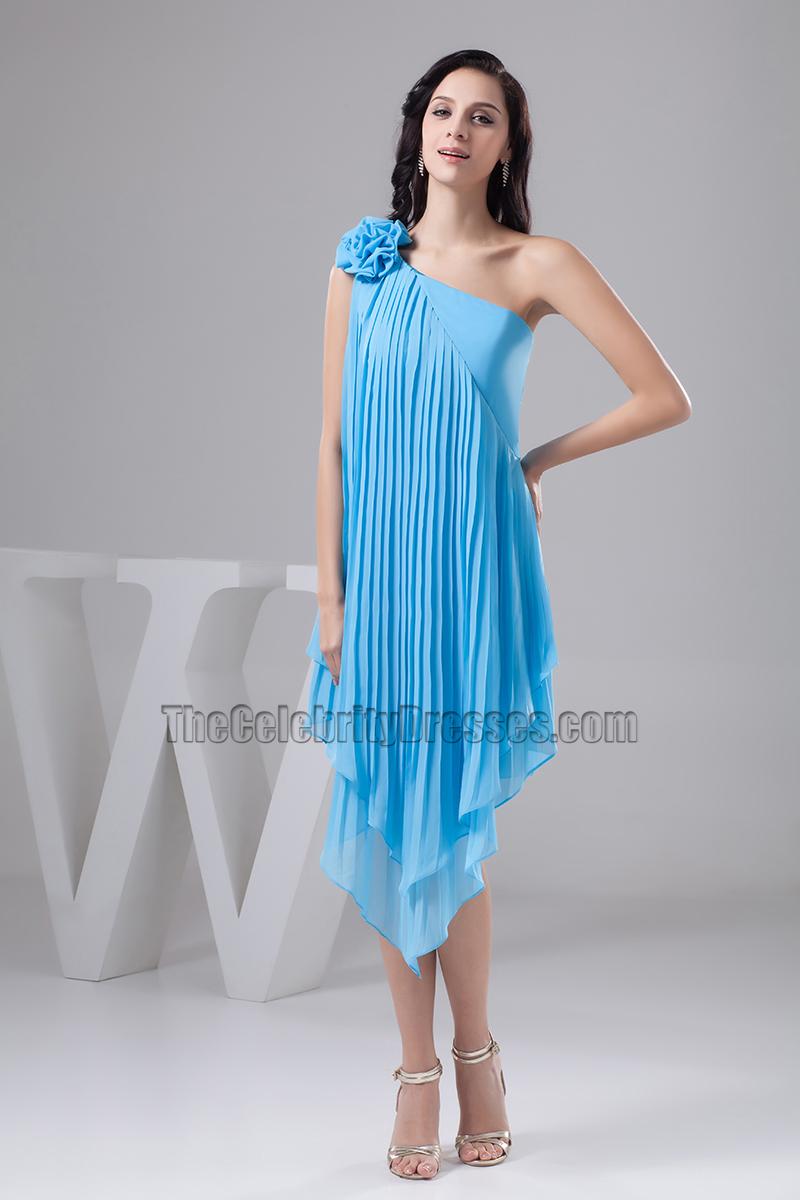 Asymmetric Blue One Shoulder Cocktail Party Graduation Dresses ...
