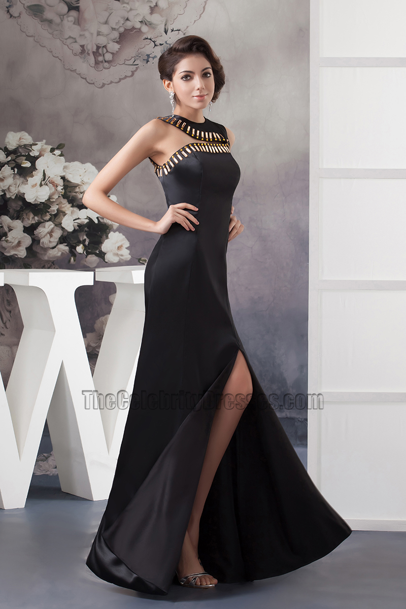 Asymmetric Neckline Black Long Evening Gown Formal Prom Dresses ...