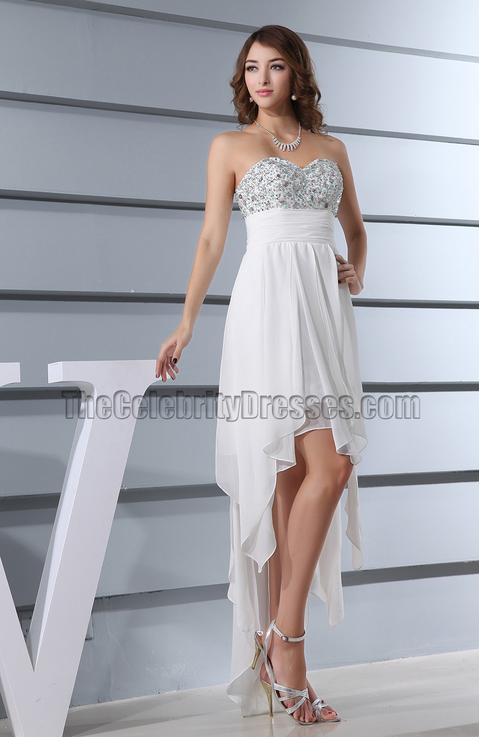 Chic Asymmetric White Cocktail Dress Prom Evening Gown ...