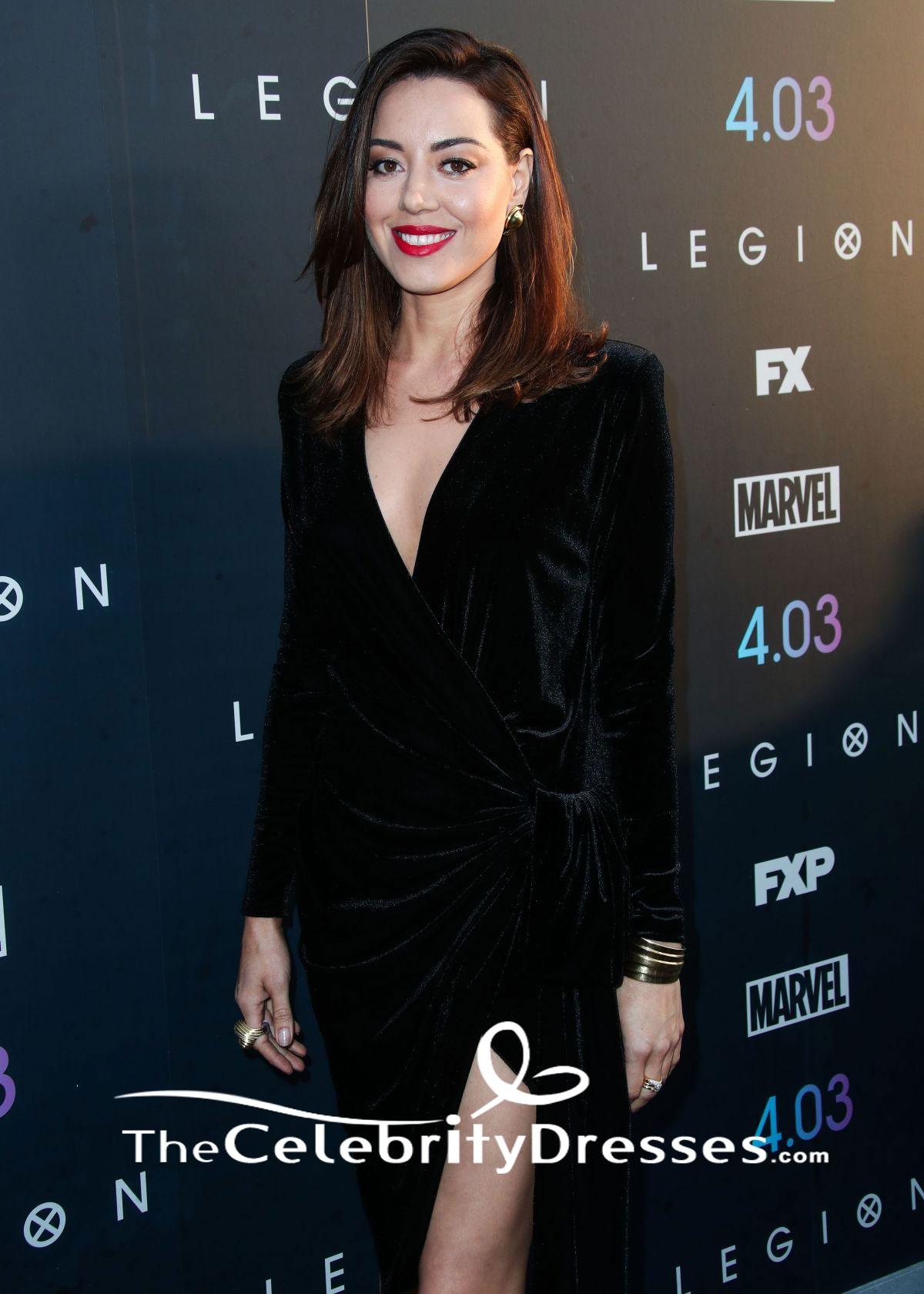 Aubrey Plaza Long Sleeve Black Party Dress Premiere Of FX's 'Legion' Season 2 - TheCelebrityDresses