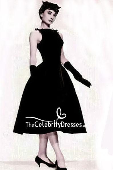 87b697c32450 Audrey Hepburn Vintage Tea Length Black Dress - TheCelebrityDresses