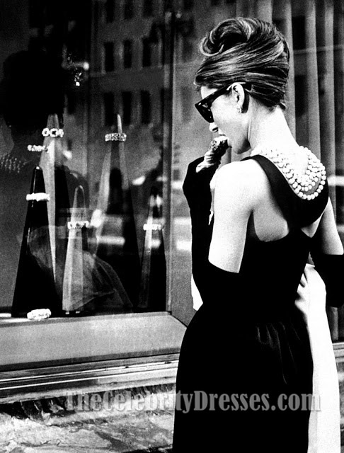 audrey hepburn black prom dress in breakfast at tiffany s