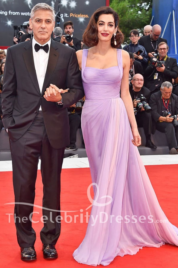 Amal Clooney Lilac Evening Dress 'Suburbicon' Venice Film Festival Premiere Red Carpet Gown TCD7531