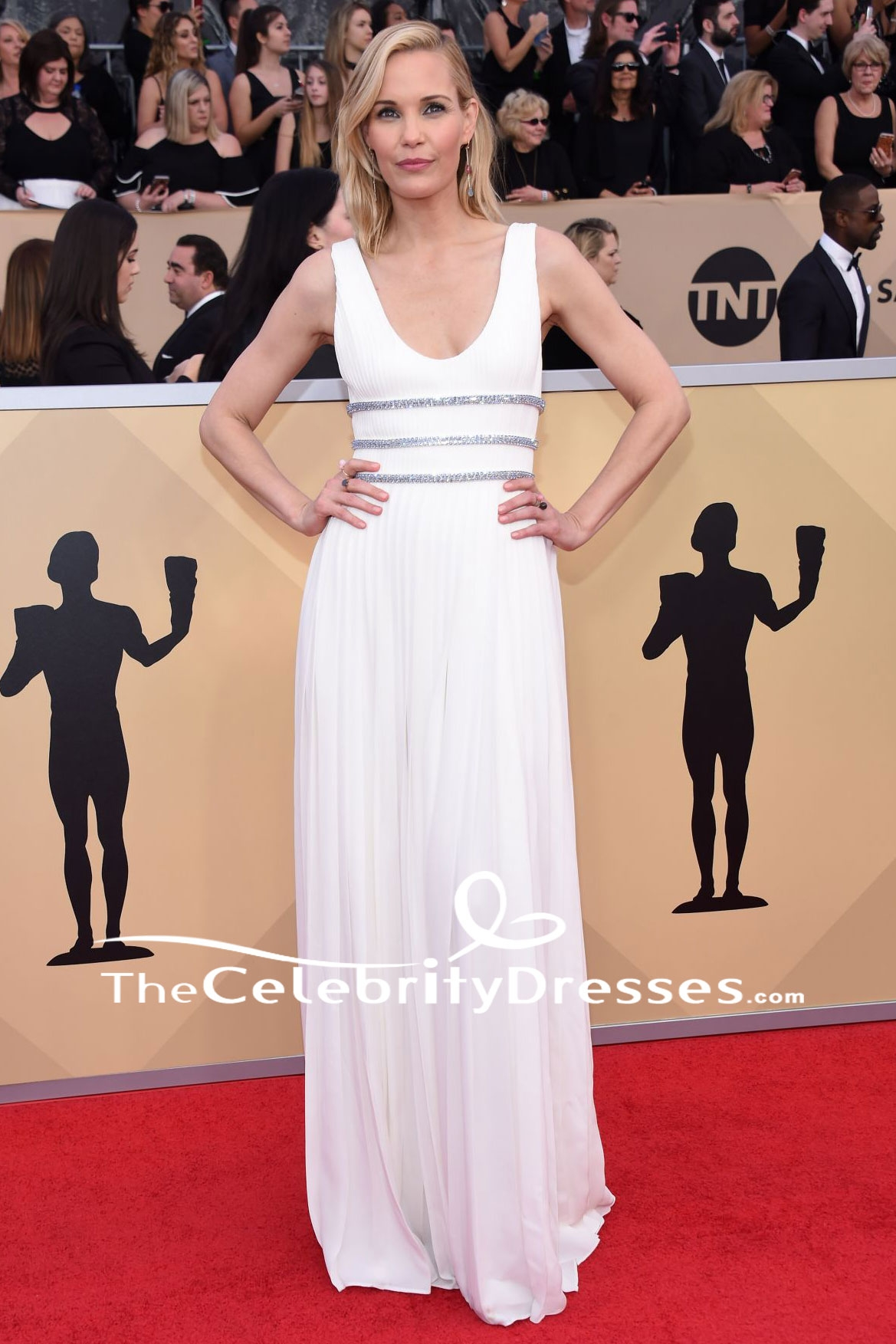 Leslie Bibb White Evening Gown 2018 Sag Awards Red Carpet Celebrity Dress Thecelebritydresses