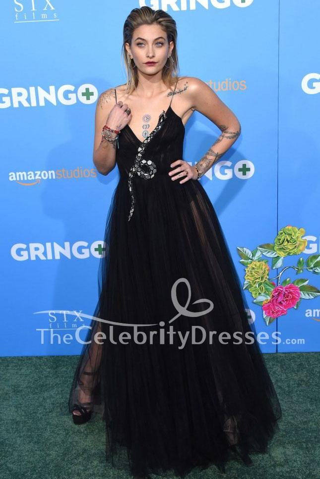 Paris Jackson Sexy Black Evening Dress 'Gringo' LA Premiere TCD7789
