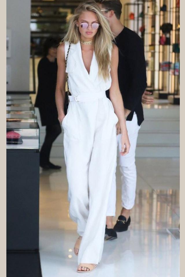 Romee Strijd White Jumpsuit Wide Leg Pants Celebrity Dresses Tcdxh8400