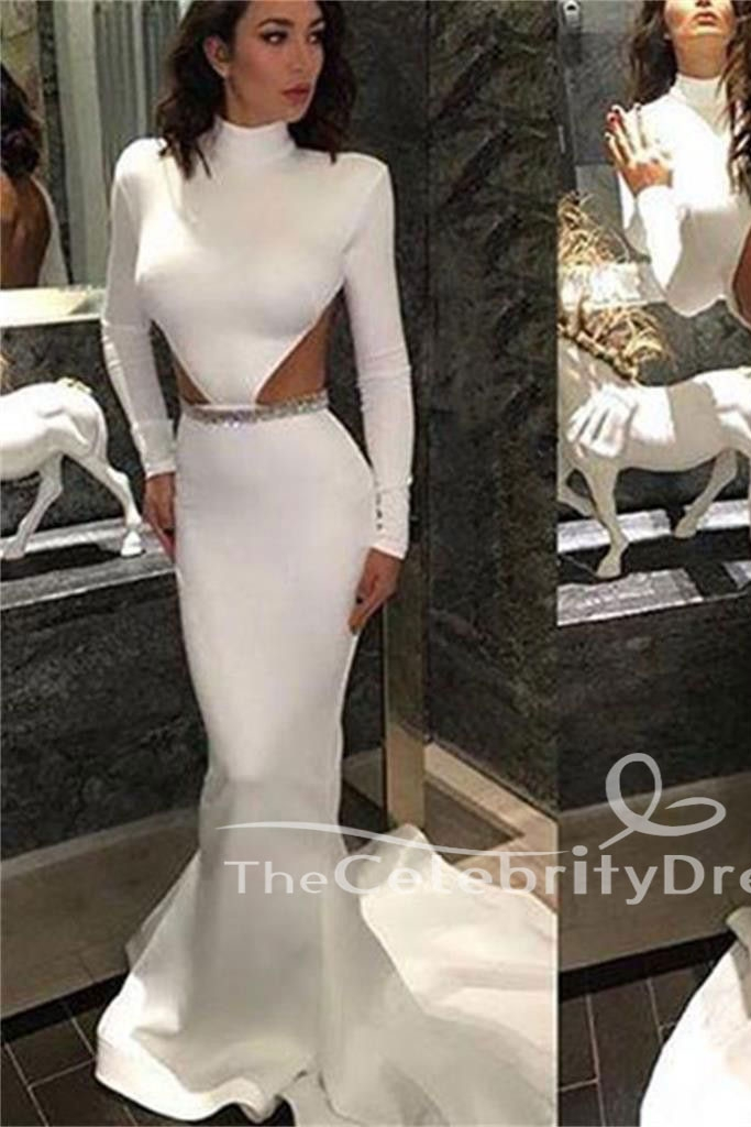 White Long Sleeves Mermaid Cut Out Open Back Beaded Evening Gown Prom Dress Thecelebritydresses
