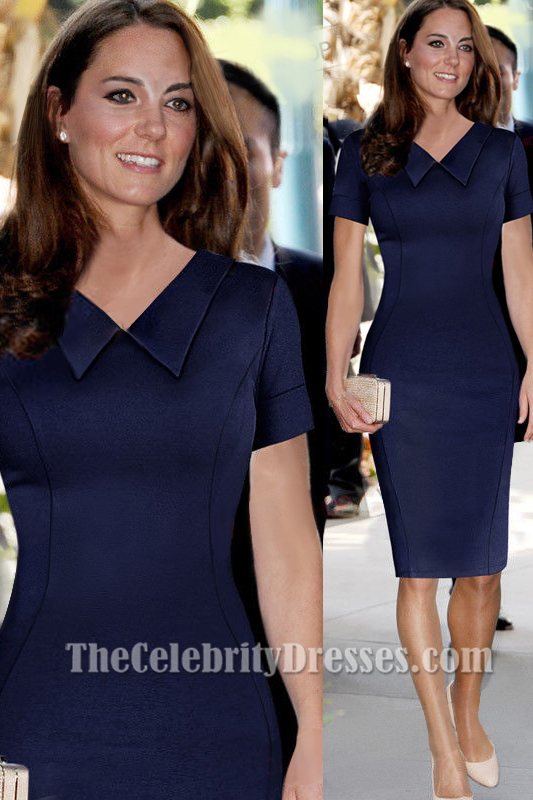 Kate Middleton Knee Length Navy Tail Party Dresses Thecelebritydresses