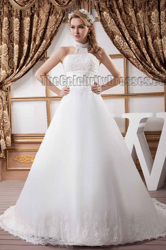 A line halter embroidered chapel train wedding dresses for Chapel train wedding dresses