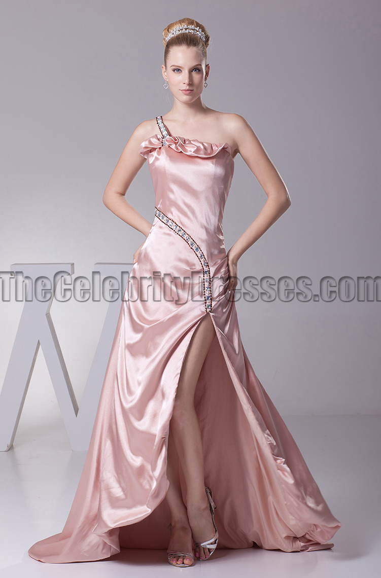 efb3e6af388 One Shoulder Skin Pink Prom Gown Evening Formal Dress - TheCelebrityDresses