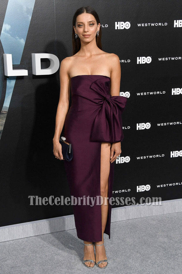 Angela Sarafyan Strapless High Slit Evening Dress Premiere Of Hbos -6902