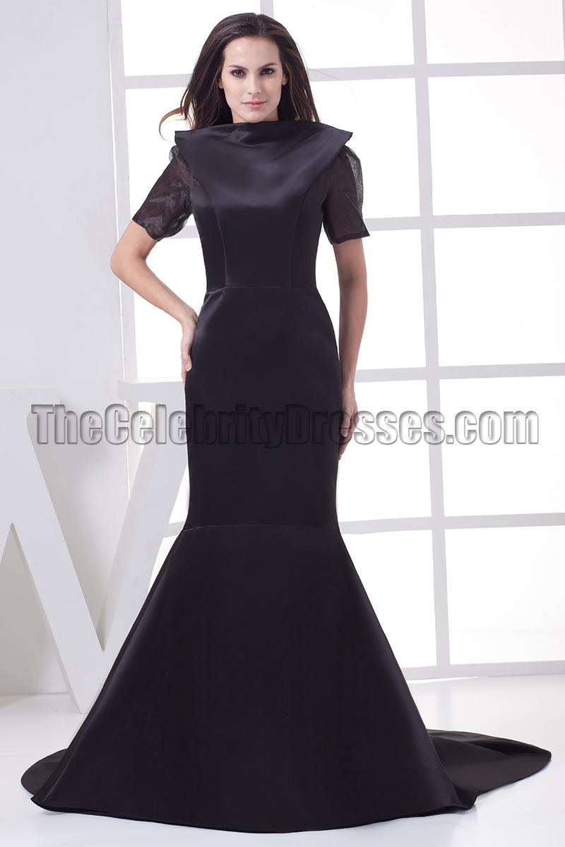 Celebrity Inspired Black Open Back Formal Gown Evening Dresses ...
