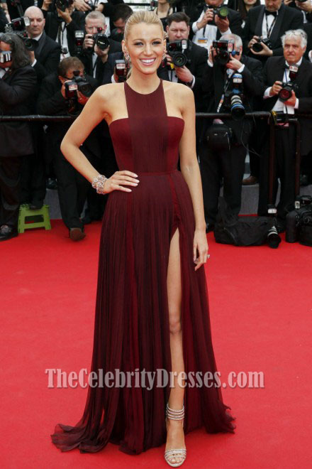 Blake Lively Burgundy Prom Dress Cannes 2017 Red Carpet Thecelebritydresses