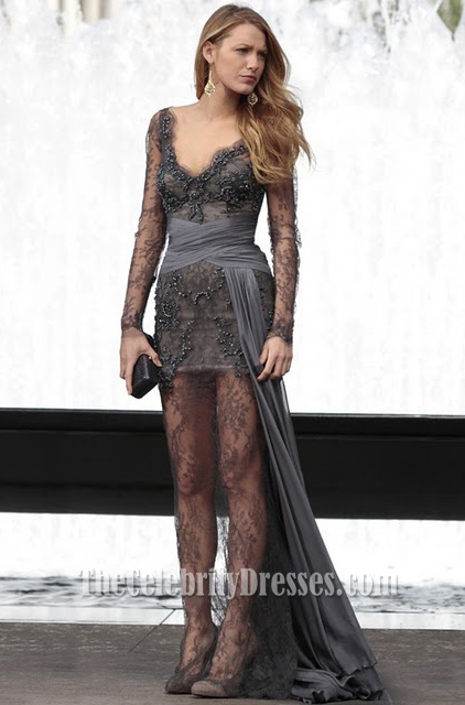 Blake Lively Gray Lace Prom Dress Gossip Girl Fashion Gown ...