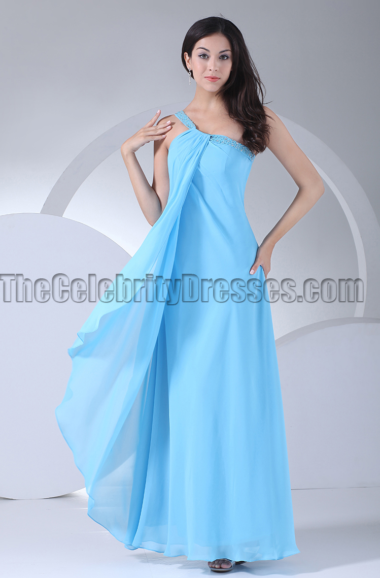 Blue one shoulder chiffon prom gown bridesmaid dresses blue one shoulder chiffon prom gown bridesmaid dresses thecelebritydresses ombrellifo Gallery