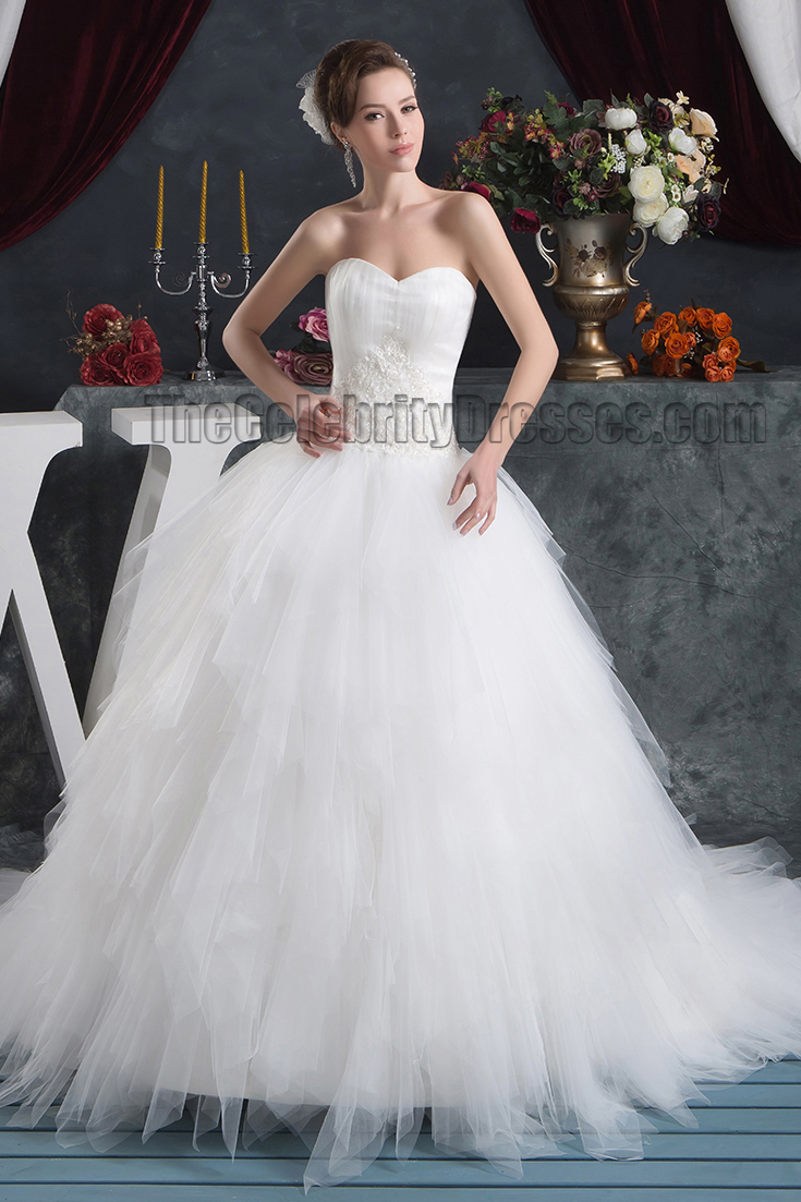 Strapless sweetheart ball gown chapel train wedding for Chapel train wedding dress