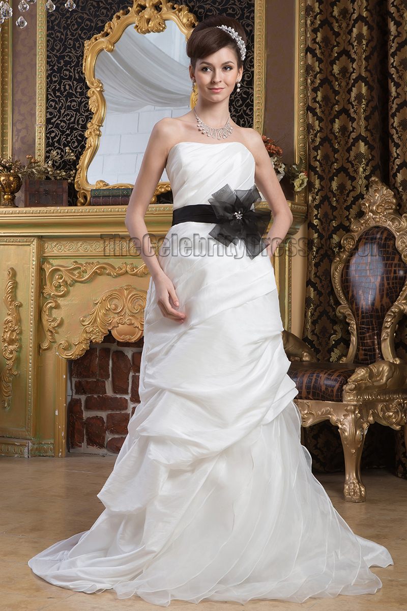 Celebrity Inspired Strapless Wedding Dress With Black Belt