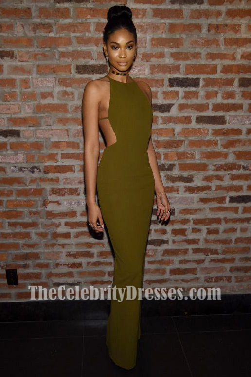 Chanel Iman Sexy Backless Olive Green Evening Gown Img
