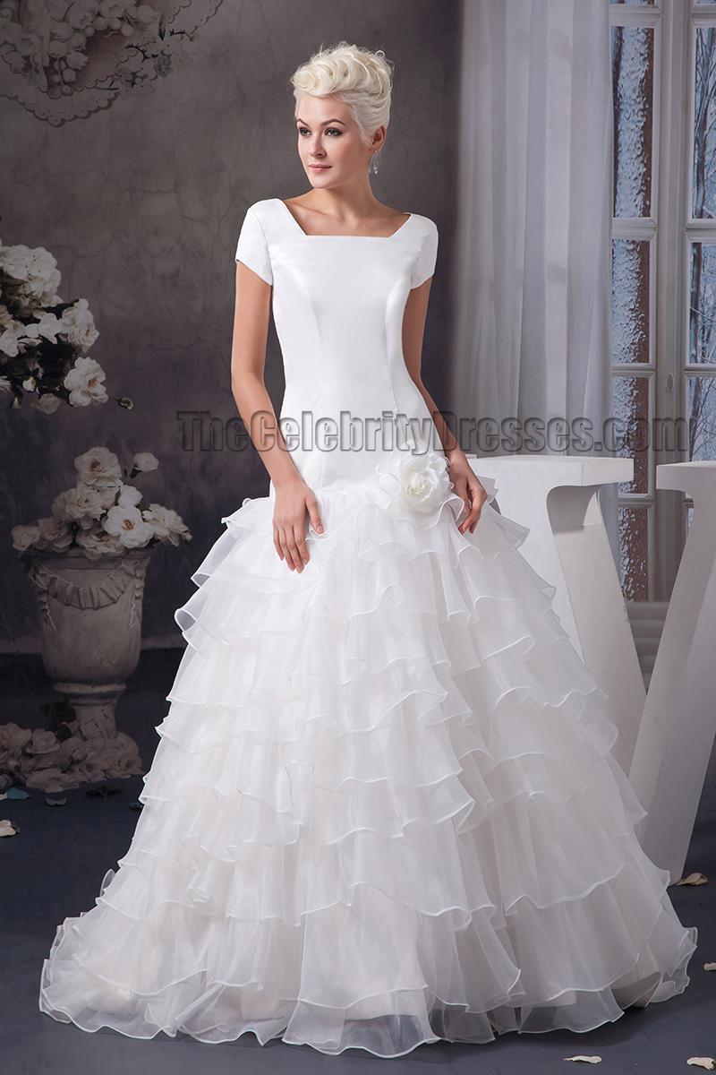 Elegant a line short sleeve sweep brush train wedding for Short flowing wedding dresses