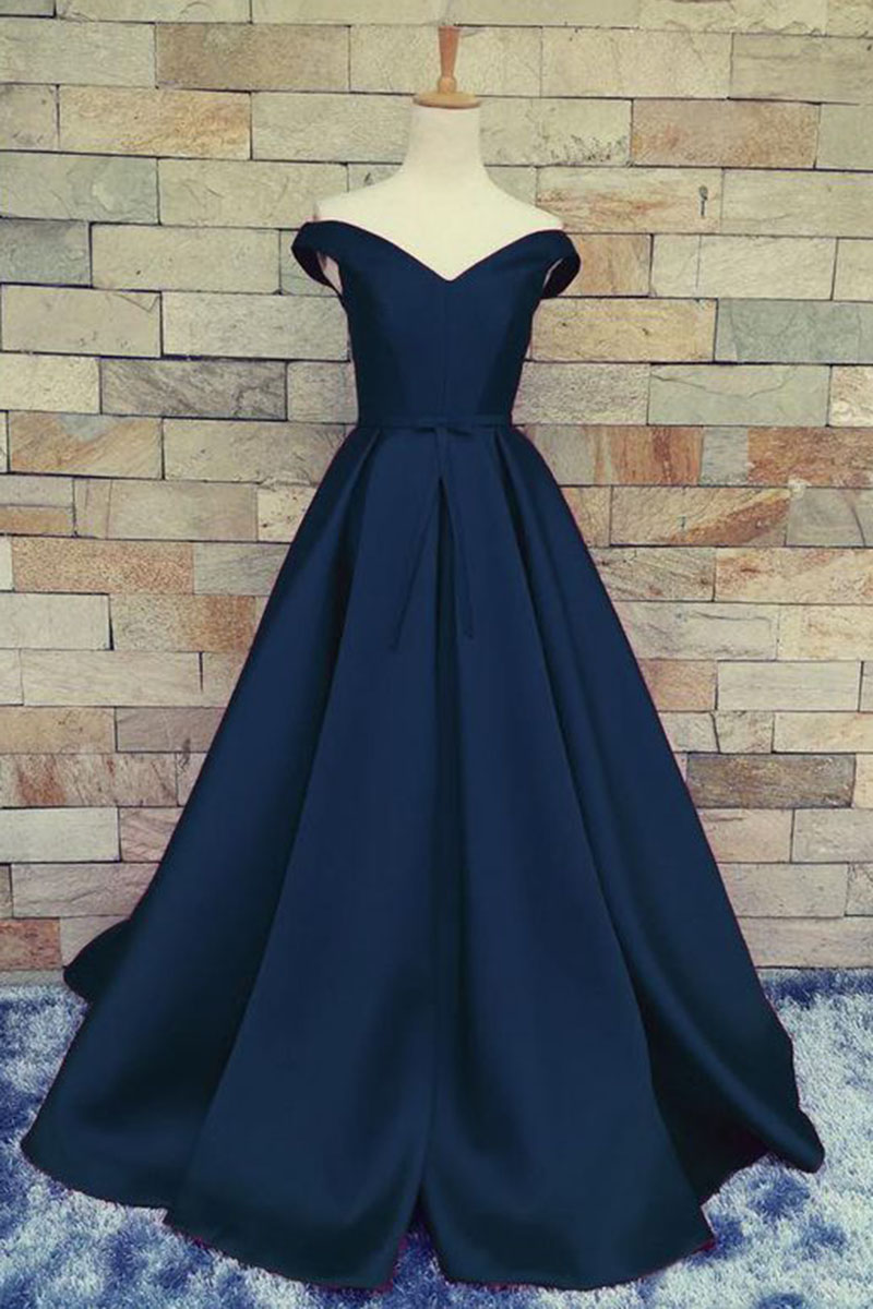 Elegant Dark Navy Blue A Line Prom Gown Evening Dress