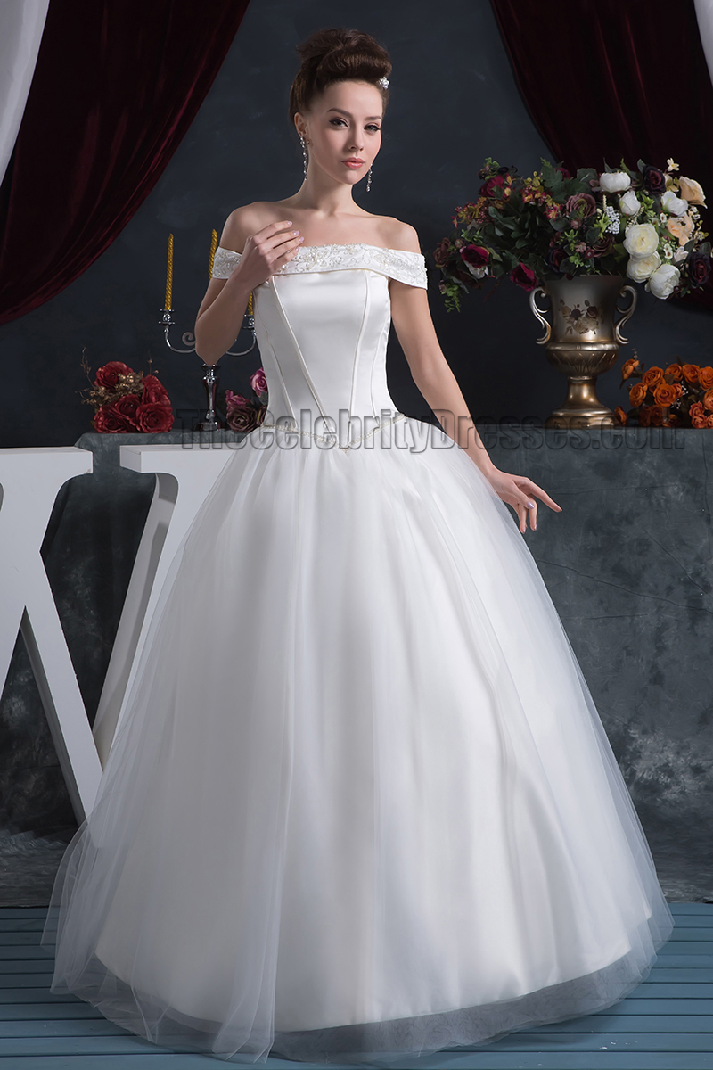 Elegant off the shoulder floor length beaded wedding for Mid length wedding dress