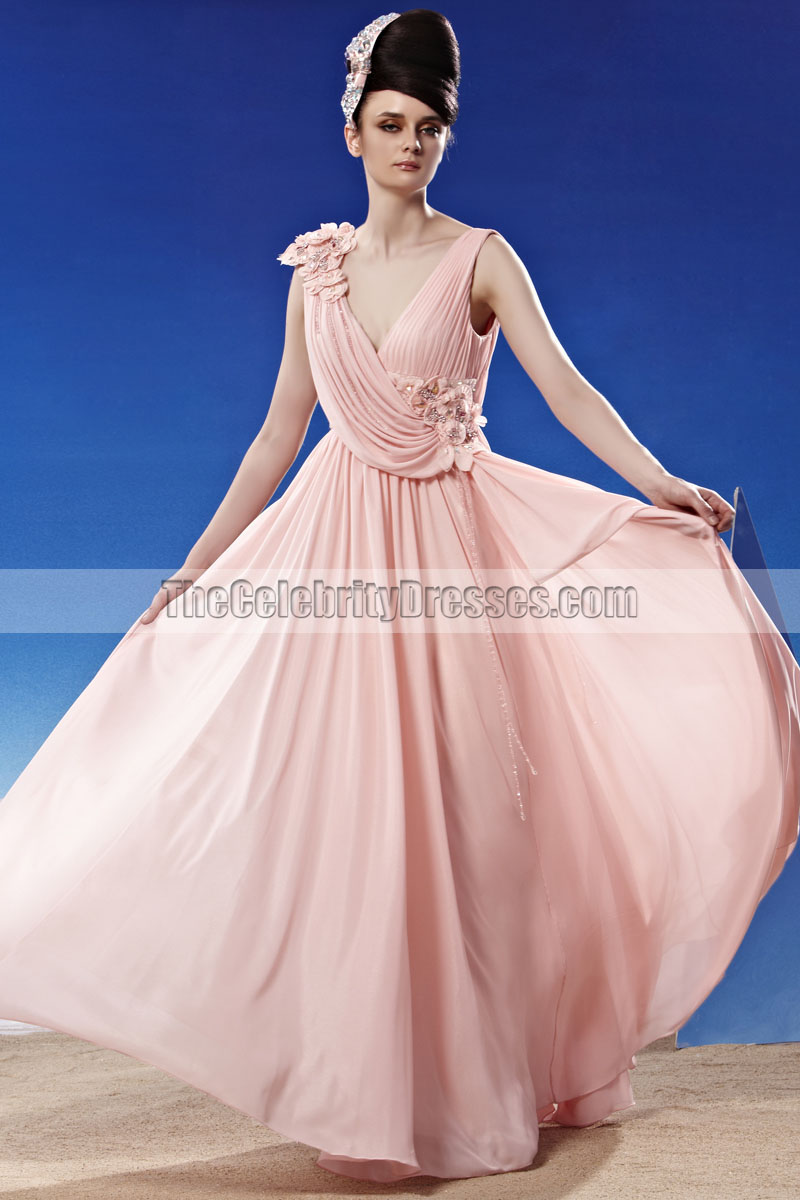 Floor Length Low Cut Chiffon Prom Gown Evening Dresses ...