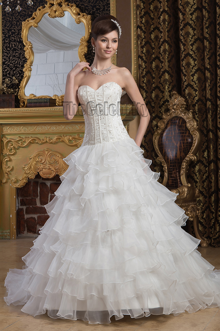 Gorgeous Sweetheart Strapless A-Line Beaded Lace Up Wedding Dresses ...