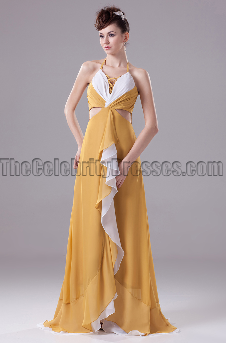 Halter Cut Out Chiffon Prom Gown Evening Formal Dresses ...
