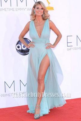 Heidi Klum Sexy Blue Chiffon Long Prom Dress 2012 Emmy ...