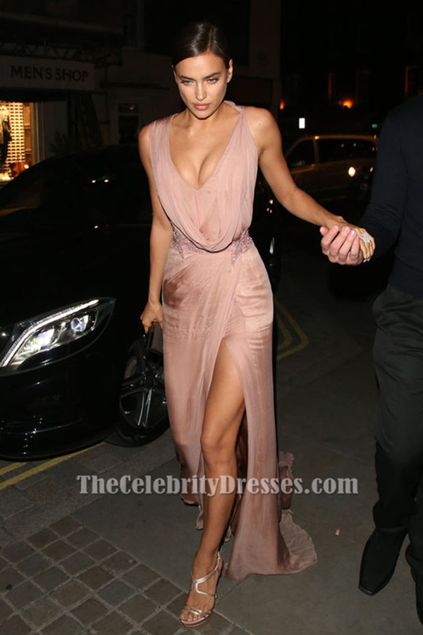 Irina Shayk Pink Sleeveless Beaded Evening Gown Prom Dress
