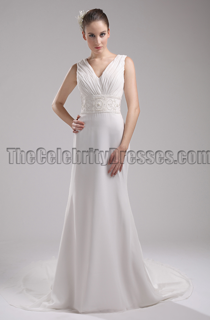 New Style Ivory V-Neck Informal Wedding Dress Evening Gown ...